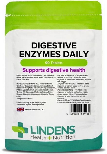 Digestive Enzymes Daily x 90 Tablets; Digestion; Lindens